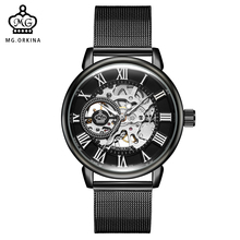 ORKINA Simple Minimalist Wristwatch Mechanical Skeleton Dial Orologio Uomo Mesh Band Male Clock Relogio Masculino