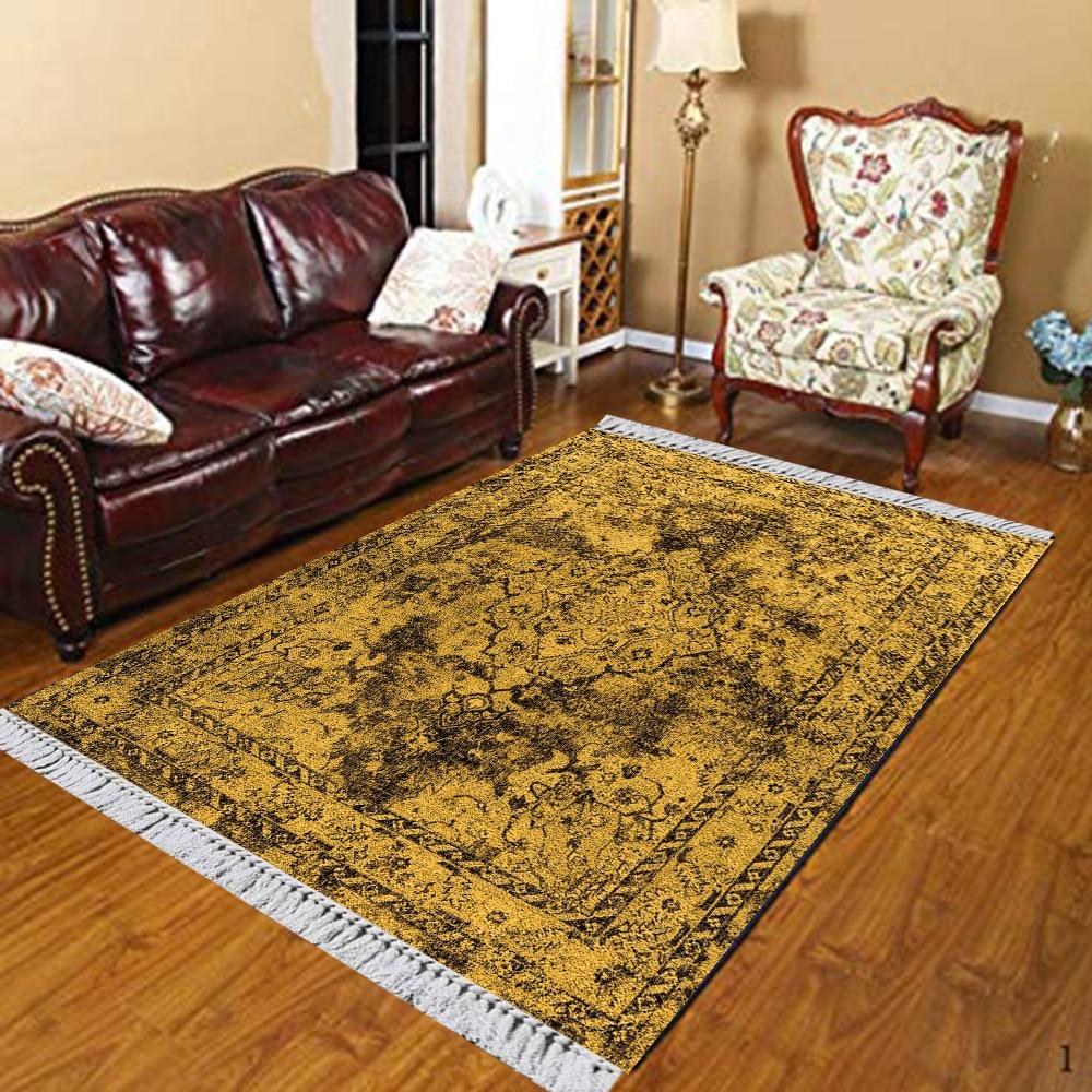 Else Yellow Black Abstract Ottoman Ethnic Authentic 3d Print Anti Slip Kilim Washable Decorative Kilim Area Rug Bohemian Carpet