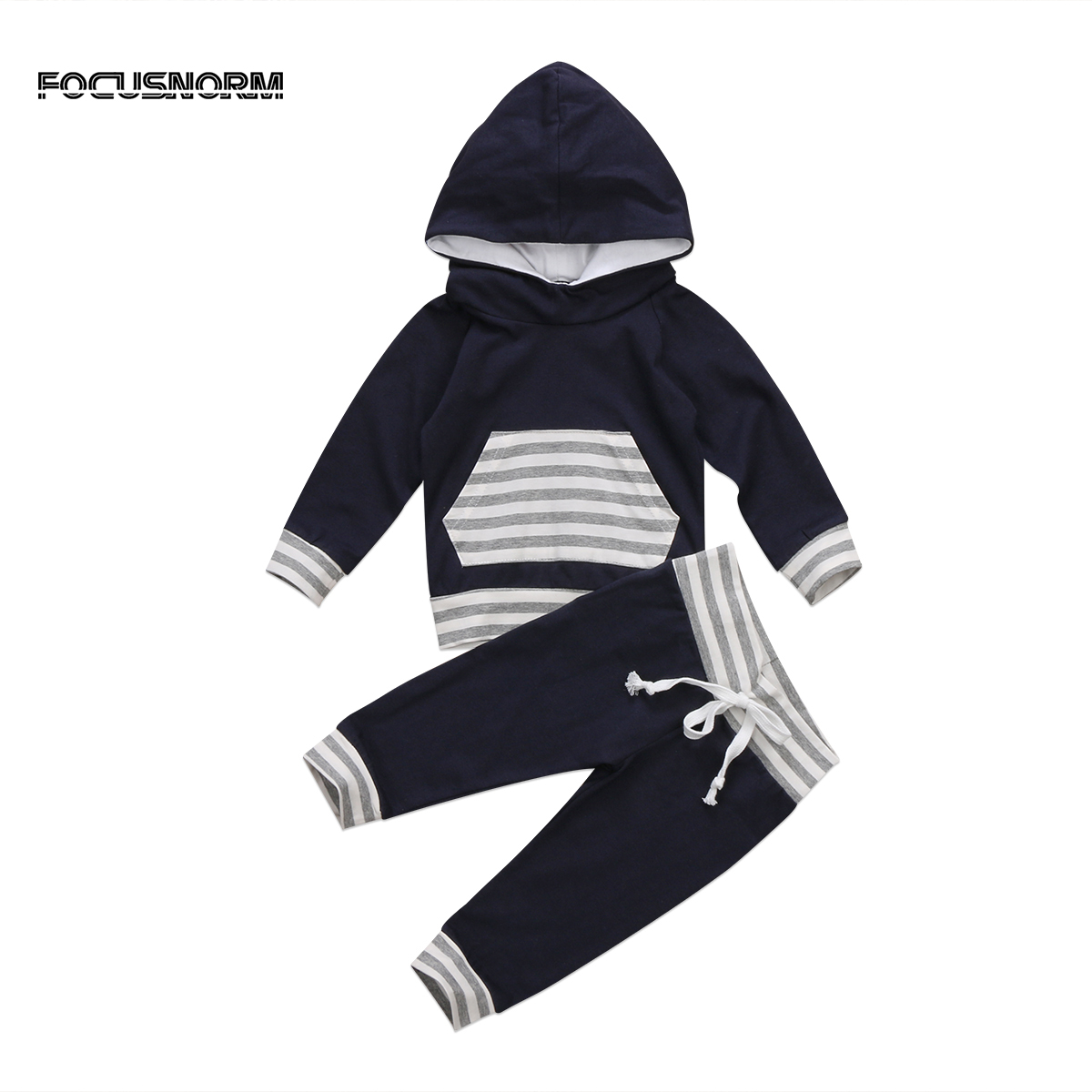 Newborn Kids Baby Boys Striped Long Sleeves Hooded Tops+Drawstring Long Pants Leggings Outfits Set Clothes