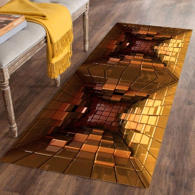 Else Brown Yellow Boxes Cube Geometric 3d Print Non Slip Microfiber Washable Long Runner Mats Floor Mat Rugs Hallway Carpets