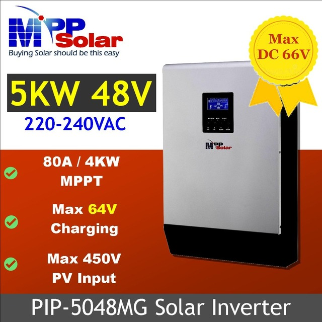 (MG) 5000w 48vdc 230vac Solar inverter max 450V PV input MPPT solar charger 80A parallel able