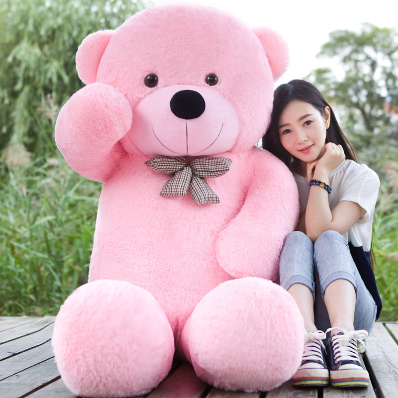 5 COLORS Giant 160CM 180CM 200CM 220CM large teddy bear soft plush toy big stuffed kid baby life size doll girl Christmas gift 2018 hot sale giant teddy bear 160cm 180cm 200cm 220cm huge big animals plush stuffed toys life size kid dolls girls toy gift