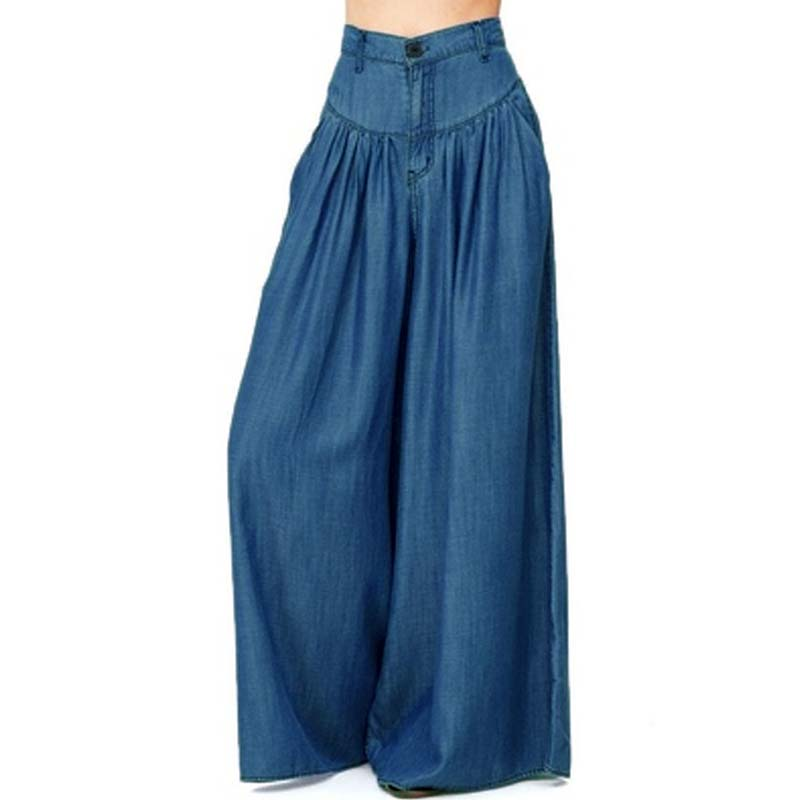 2019 ZANZEA Women Summer Autumn Causal   Pants   Zipper Up   Wide     Leg     Pants   Blue Denim Loose Long Trousers High Waist Pantalon S-5XL