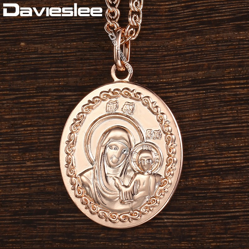 Davieslee Virgin Mary Jesus Cross Pendant Necklace for Women Men 585 Rose Gold Filled Chain DGP170_1