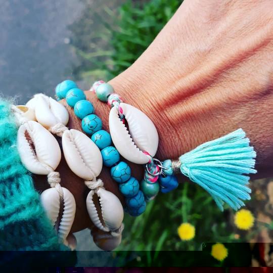 Bracelet de cheville pompon et coquillage Ilona - Turquoise