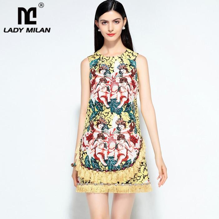 Lady Milan 2018 Womens O Neck Sleeveless Printed Beaded Tassels Fashion Designer Short Summer Runway Dresses