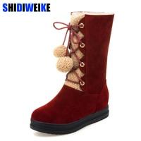 Furry Snow Boots Warmer Plush Platform Winter Flat Shoes Pom Pom Fur Ball Fluffy Mid Calf Booties Lace up Fashion Shoe n043