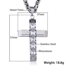 Christian Jewelry Men's Cross Necklace  Byzantine Chain