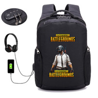 Game PUBG Player unknown's battlegrounds Backpack USB Charging Anti theft backpack student bookbag Teenagers Laptop package