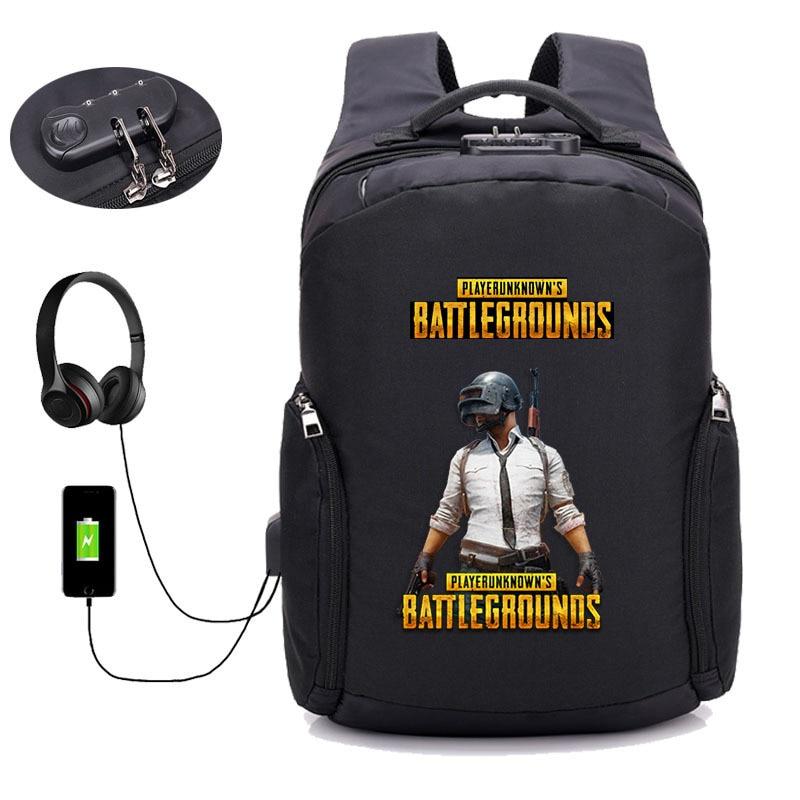 Jeu PUBG joueur inconnu champs de bataille sac à dos USB charge Anti-vol sac à dos étudiant bookbag adolescents paquet pour ordinateur portable