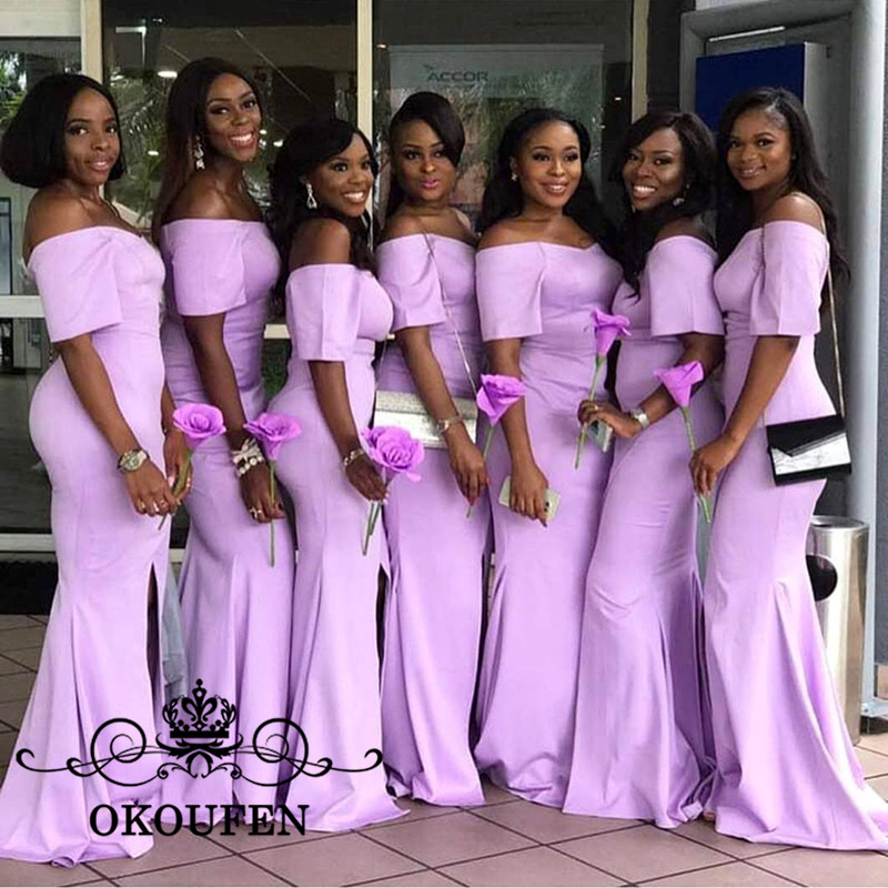 2018 Front Split Mermaid   Bridesmaid     Dresses   With Short Sleeves Lilac Satin Off Shoulder Long Maid Of Honor   Dress   For Wedding