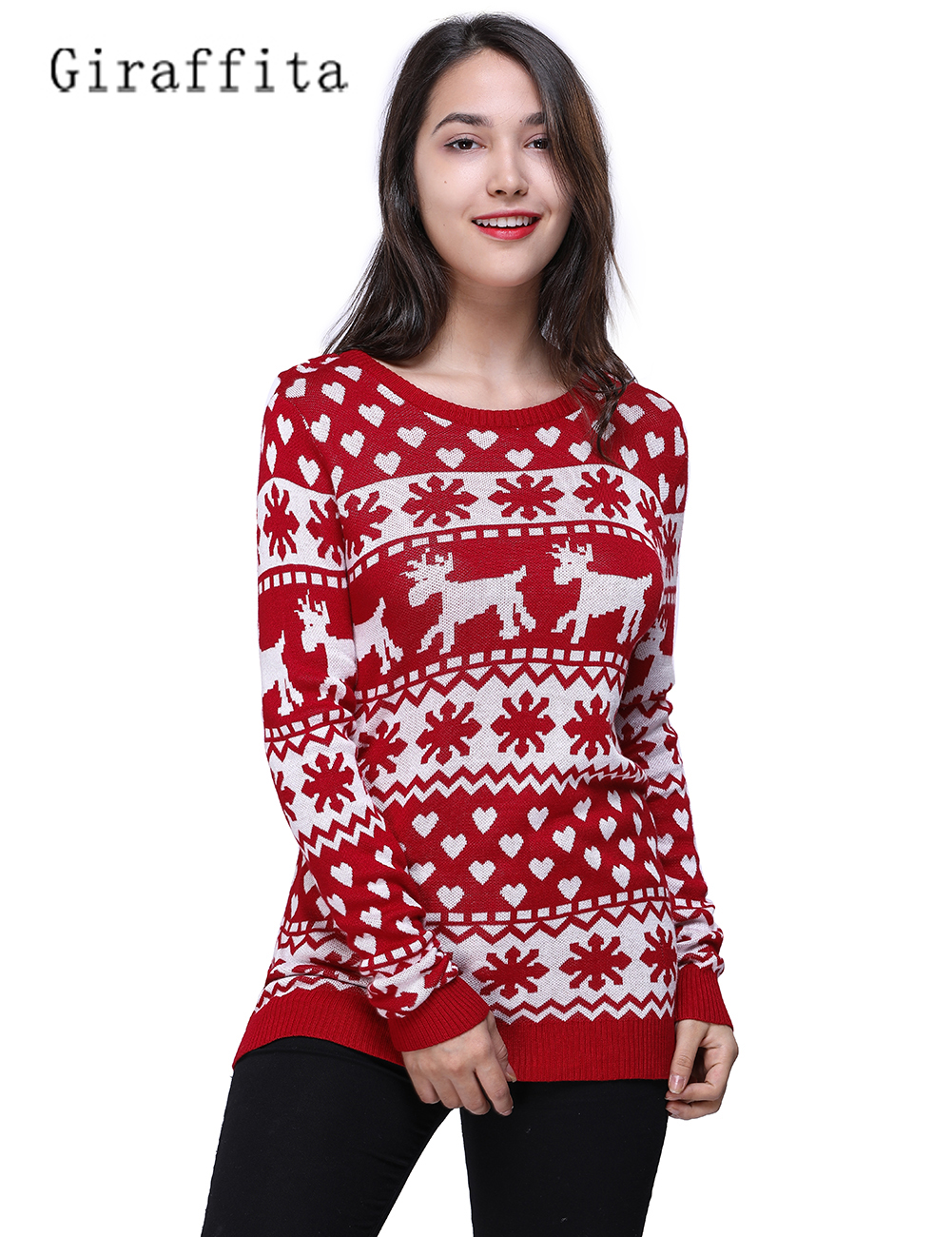 Giraffita Women Snow Christmas Clothes Sweater Cotton Red Long Sleeve Pullovers Sweater