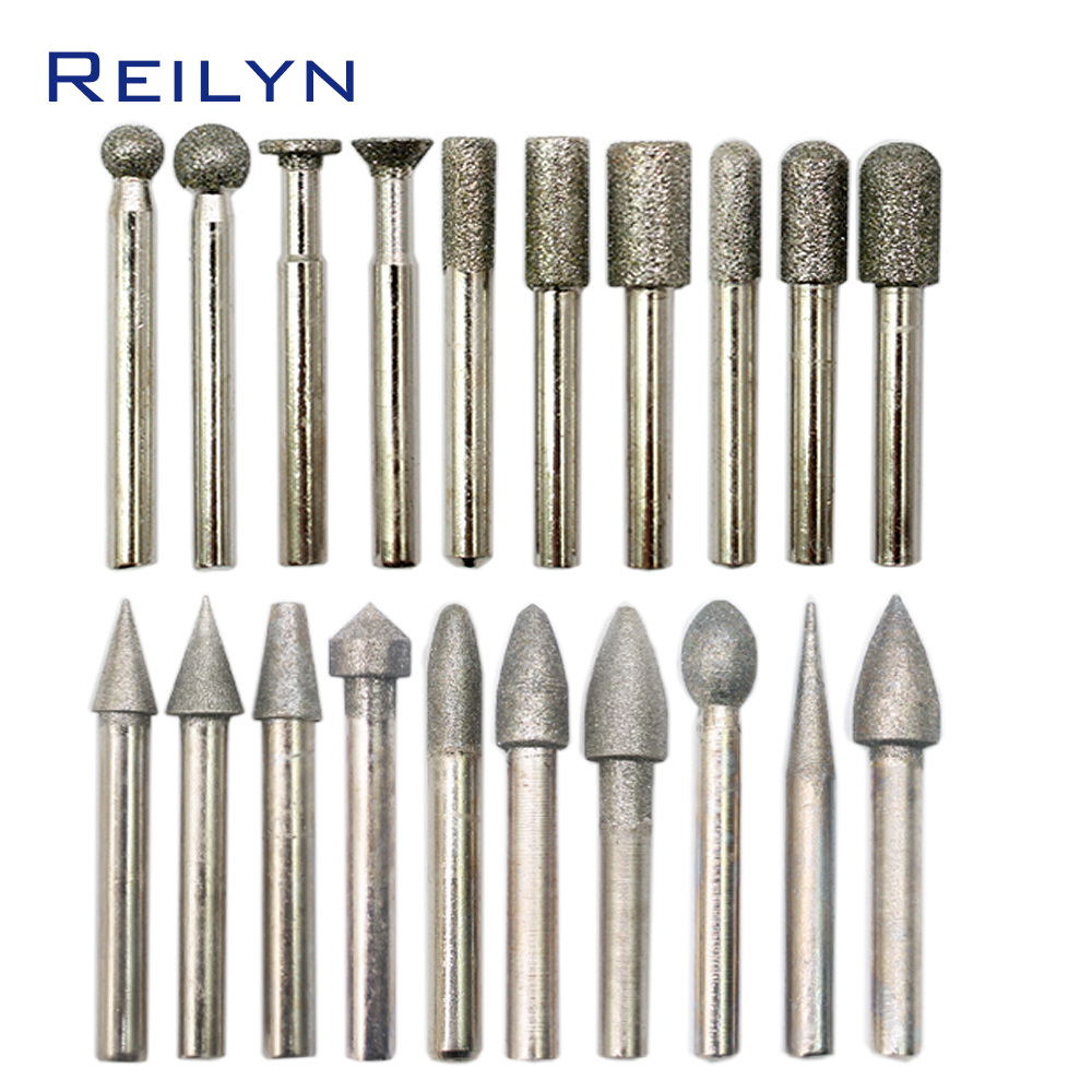 20pcs/pack 6mm Diamond Point Set Grinding Bits For Diamond Stone Grinding Peeling Bits For Rotary Tools