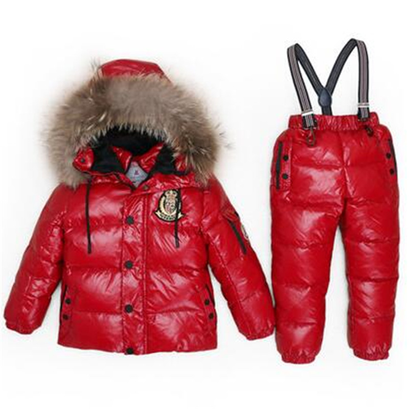 Russian Winter Kids Boy Girl White Duck Down Ski Suits Snowsuit Baby Real Fur Collar Down Jacket Coat+Jumpsuit Set Coats T88 the love of cat and mouse boy girl cartoon duck down jacket jumpsuit jackets baby snowsuit kids clothes 03