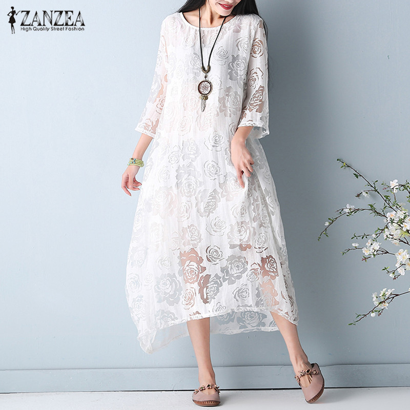 ZANZEA Summer Women Beach O Neck 3/4 Sleeve Lace Crochet Double Hem Beach Party Loose Solid Midi Dress Vestido