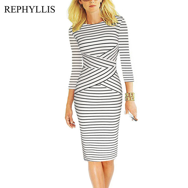 951f17c7a4f REPHYLLIS Women 3 4 Sleeve Striped O Neck Wear to Work Business Cocktail  Party Office Casual Bodycon Pencil Sheath Dress