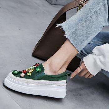 Platform Sneakers Women Leather Loafers Black Green Bling Bling Platform Flat Sneakers 5.5cm leather