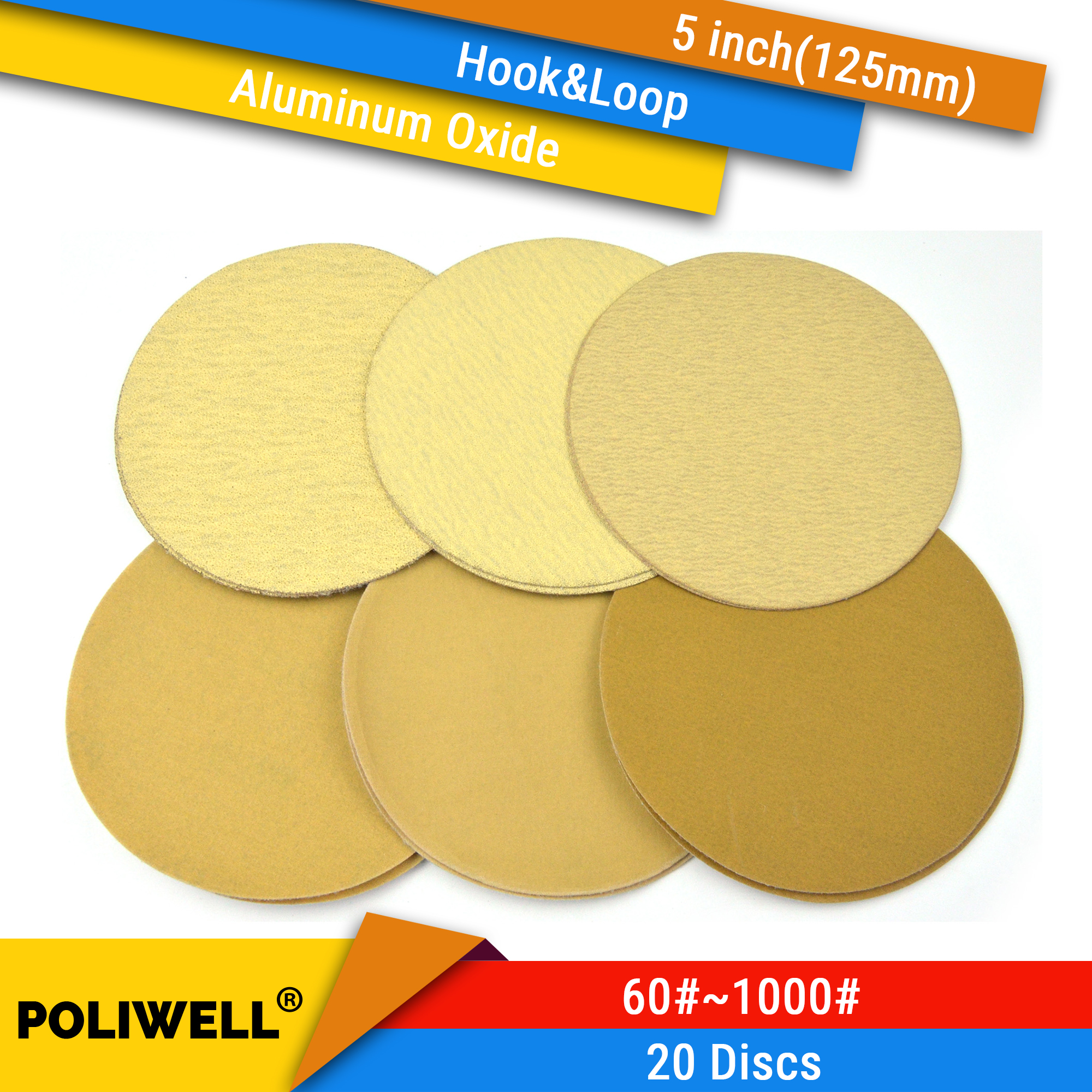 20PCS 5 Inch 125mm Polishing Paper Hook And Loop Yellow Sanding Discs Flocking Sandpaper For Car Polisher Paper 60/400/1000 Grit