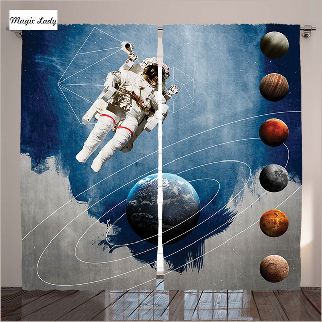 Curtains Insulation Outer Space Physics Orbit Astronaut Nasa Cosmonaut Spacesuit Living Room Bedroom Blue 290x265