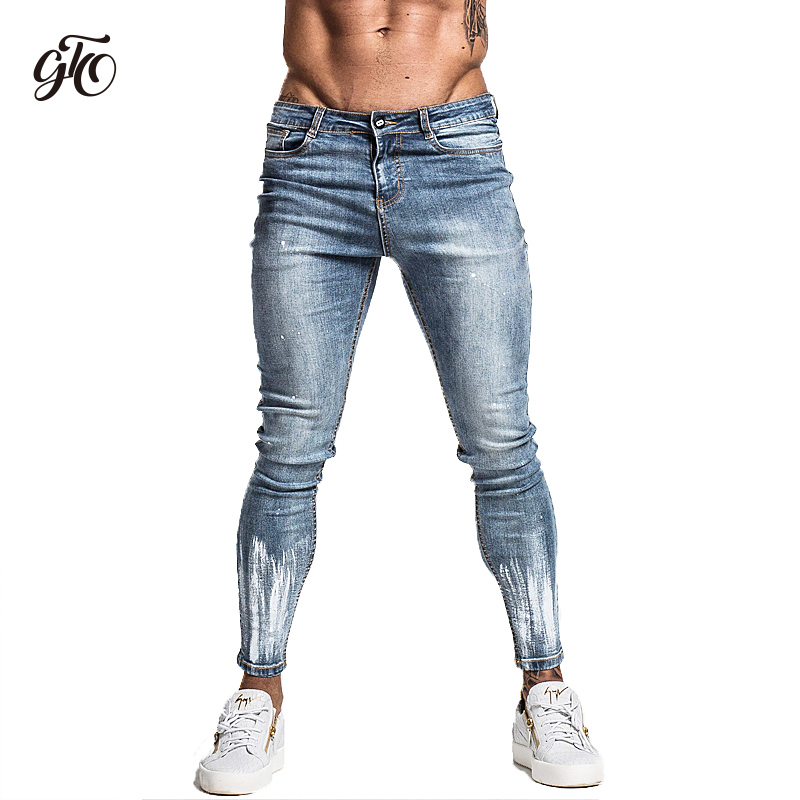 Gingtto Light Blue Ripped Jeans For Men Slim Fit Stretch Hip Hop Street Designer Distressed For Men Brush Print Jeans Brand zm43