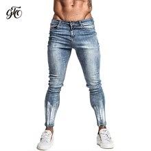 Gingtto Light Blue Ripped Jeans For Men Slim Fit Stretch Hip Hop Street Designer Distressed For Men Brush Print Jeans Brand zm43 цены онлайн