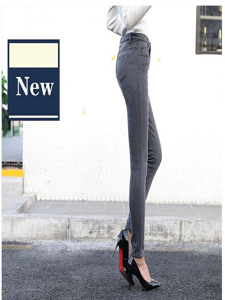 Women's tight-fitting large size jeans high waist 2019Newjeans ladies high waist plus velvet stretch sexy jeans ladies pencil pa image