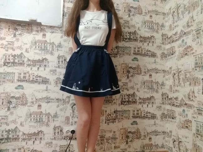 Merry Pretty New Summer Women Skirts Cartoon Cat Dog Embroidery Skirt Harajuku Kawaii Japan Style Cute Chiffon Strap Mini Skirt photo review