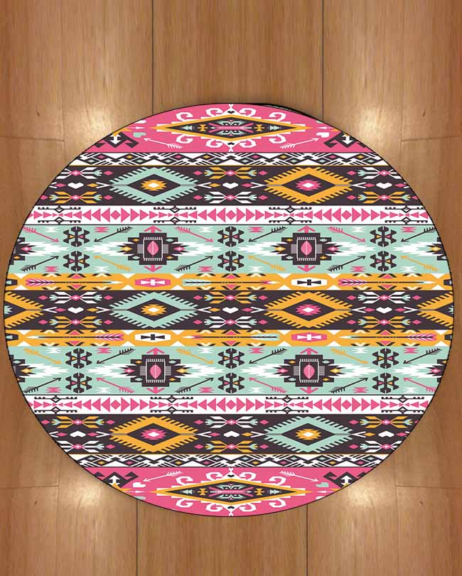 Else Pink Blue Aztec Ethnic Yellow Turkish Geometric 3d Print Anti Slip Back Round Carpets Area Rug For Living Rooms Bathroom