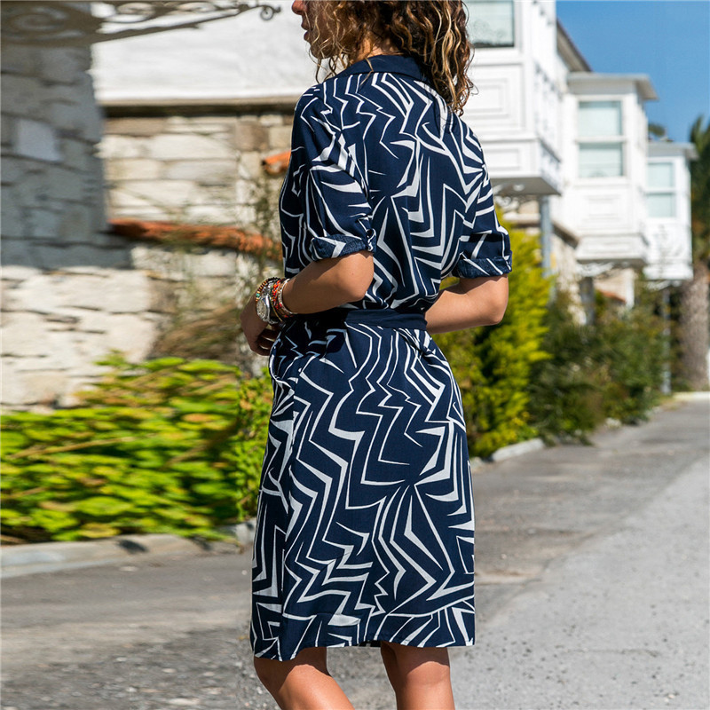 Long Sleeve Shirt Dress 19 Summer Boho Beach Dresses Women Casual Striped Print A-line Mini Party Dress Vestidos 21
