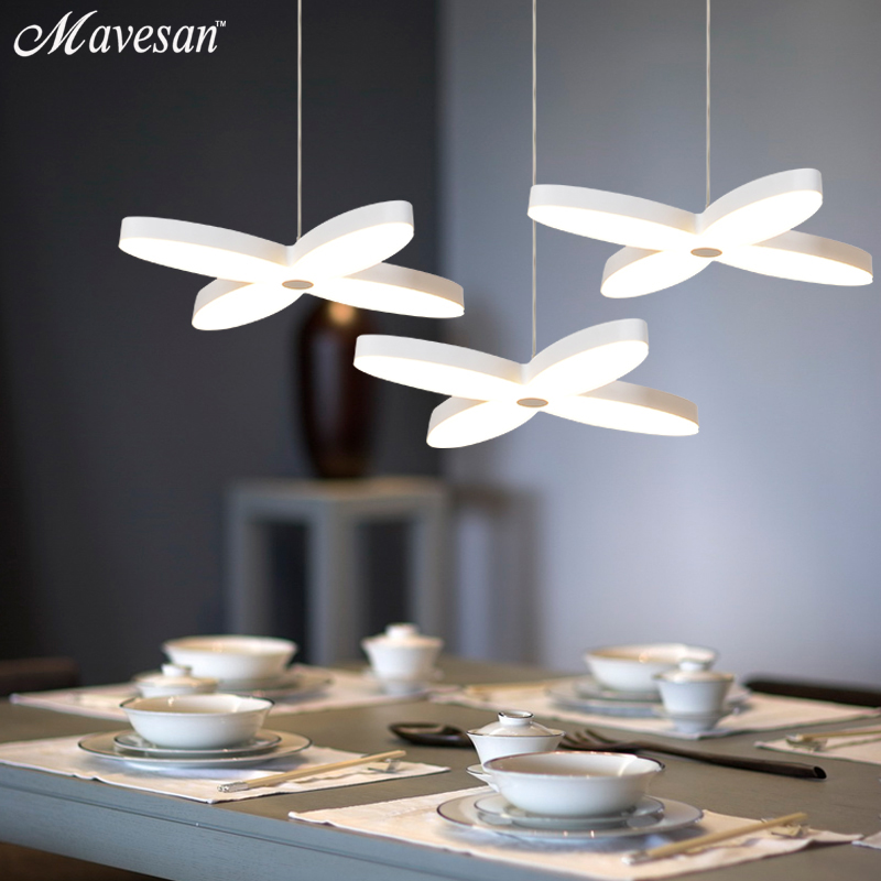 Modern LED Simple Pendant Lights Lamp For Living Room  Lustre Pendant Lights Pendant  4 leaves flowers Ceiling Fixtures