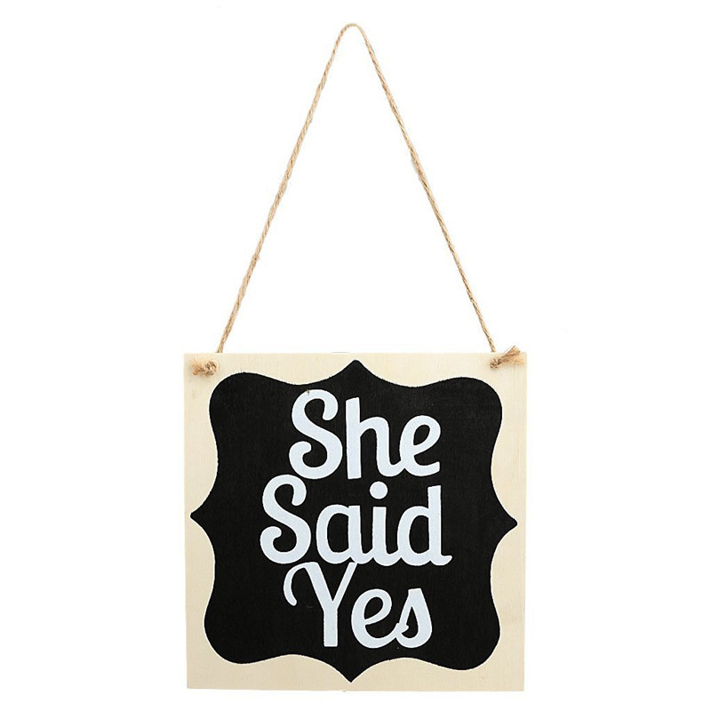 He Asked She Said Yes Wooden Wedding Photo Props Rustic Wedding Decor Signs Wood Hanging Pandent