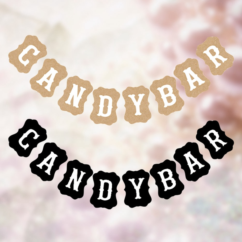 Candy Bar Kraft Paper Cardboard Bunting Banner Garland Vintage Wedding Decor Sign Baby Shower Birthday Party Buffet