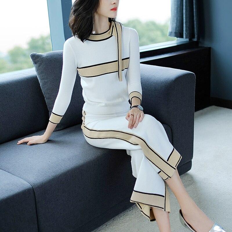 Frauen 2018 Herbst Und Winter Neue Casual Anzug Weiblichen Koreanische Version War Dünn Und Einfache Breiten Bein Hosen Mode zwei-stück