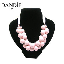 Dandie Acrylic Bead Necklace with Ribbon Design, mutli-color available