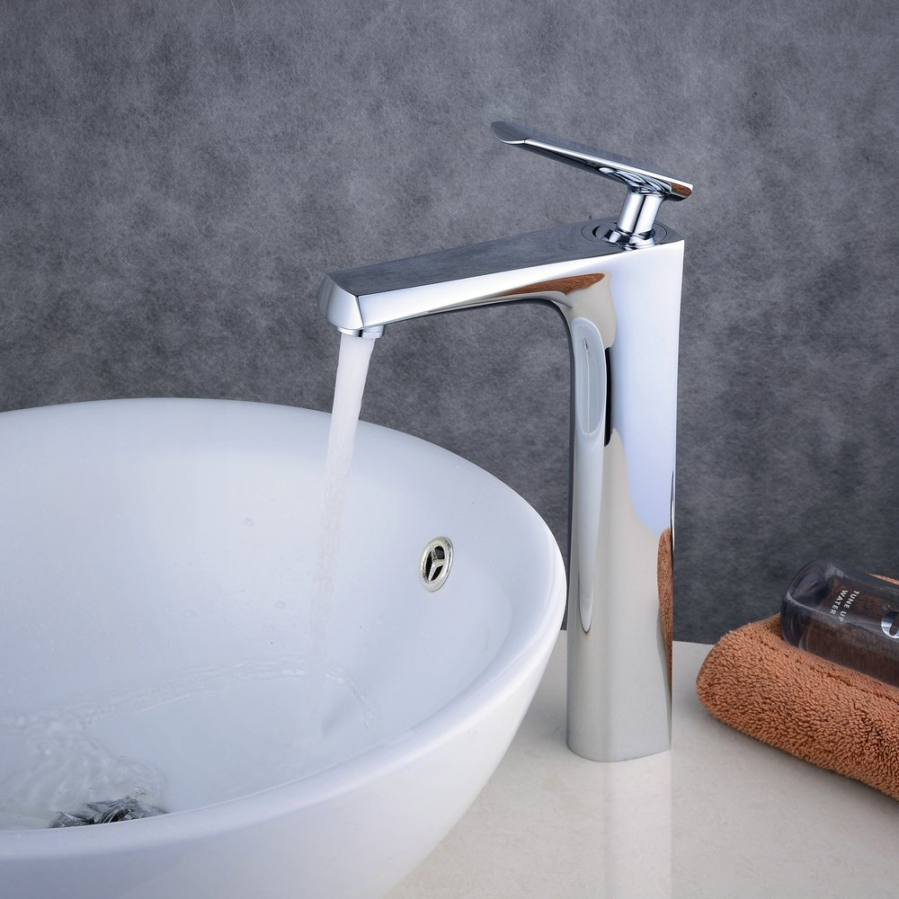 Tall Faucet Chrome Modern Single Handle Bathroom Bath Counter Top Cold and Hot Water Mixer Tap Desk-mounted Sink Tap Vessel chrome plated modern handle c c 192mm l 218mm h 23mm drawers cabinets