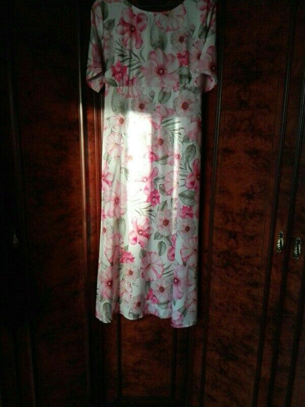 5Xl 6Xl Printing Chiffon Long Dress Plus Size Female Maxi Dress Autumn Winter Women Vestidos Big Sizes Vintage Casual Dress photo review