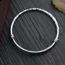Fyla Mode S999 Thai Silver Antique Silver Simple Wiring Bracelet Adjustable Expandable Wire Bangles 3mm 15G WTB045