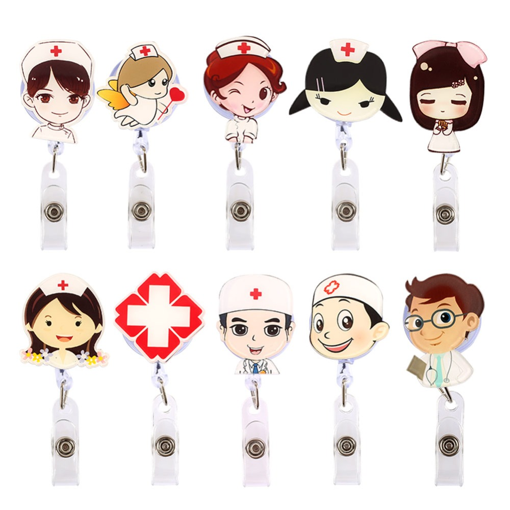 Cartoon Doctor Nurse Retractable Pull Badge Holder Reel ID Key Lanyard Name Tag Card Badge Holder Reels For KIDS Office Supplies