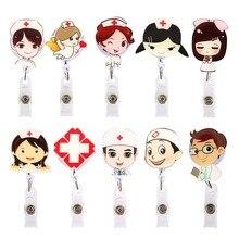 Cartoon Doctor Nurse Retractable Pull Badge Holder Reel ID Key Lanyard Name Tag Card Reels For KIDS Office Supplies