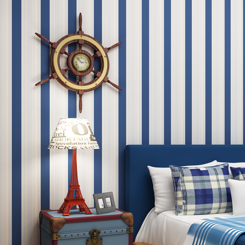 . US  35 18 12  OFF 2018 New Arrival Blue Stripes Wallpaper Baby Boys Room  Wall Papers Self Adhesive Children Bedroom Wallpapers Roll Behang QZ069 in
