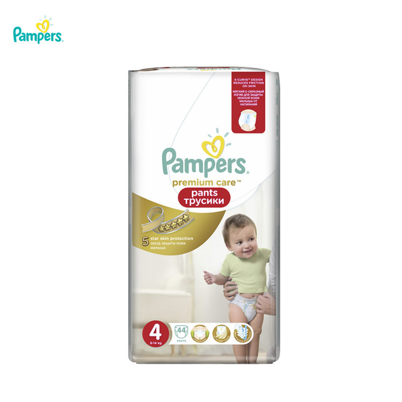 Трусики Pampers Premium Care Pants 9-14 кг, размер 4, 44 шт.