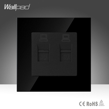 Wallpad Doble Toma De Datos Negro Crystal Glass Interruptor Interruptor de 86*86mm Doble Equipo de Internet de Datos RJ45 Socket Jack, envío Gratis