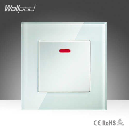 45A التبديل جدار أبيض كريستال زجاج 1 عصابة 45A دفع زر تكييف الهواء طباخ الجدار التبديل مع مصباح ليد شحن مجاني