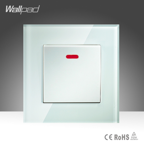 45A Switch Wallpad White Crystal Glass 1 Gang 45A Push Button Air Conditioning Cooker Wall Switch With Led Light  Free Shipping