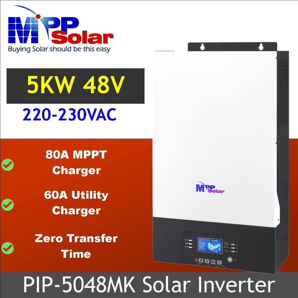 US $616 55 5% OFF|(MK) 5000w Solar inverter 230vac 48vdc + 80A MPPT solar  charger + battery charger 60A bluetooth feature Zero Transfer time-in