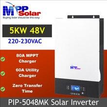 Onduleur solaire 5000w, 48v dc, 230v ac, 80a, MPPT, avec bluetooth, avec chargeur de batterie 60a, sans délai de transfert