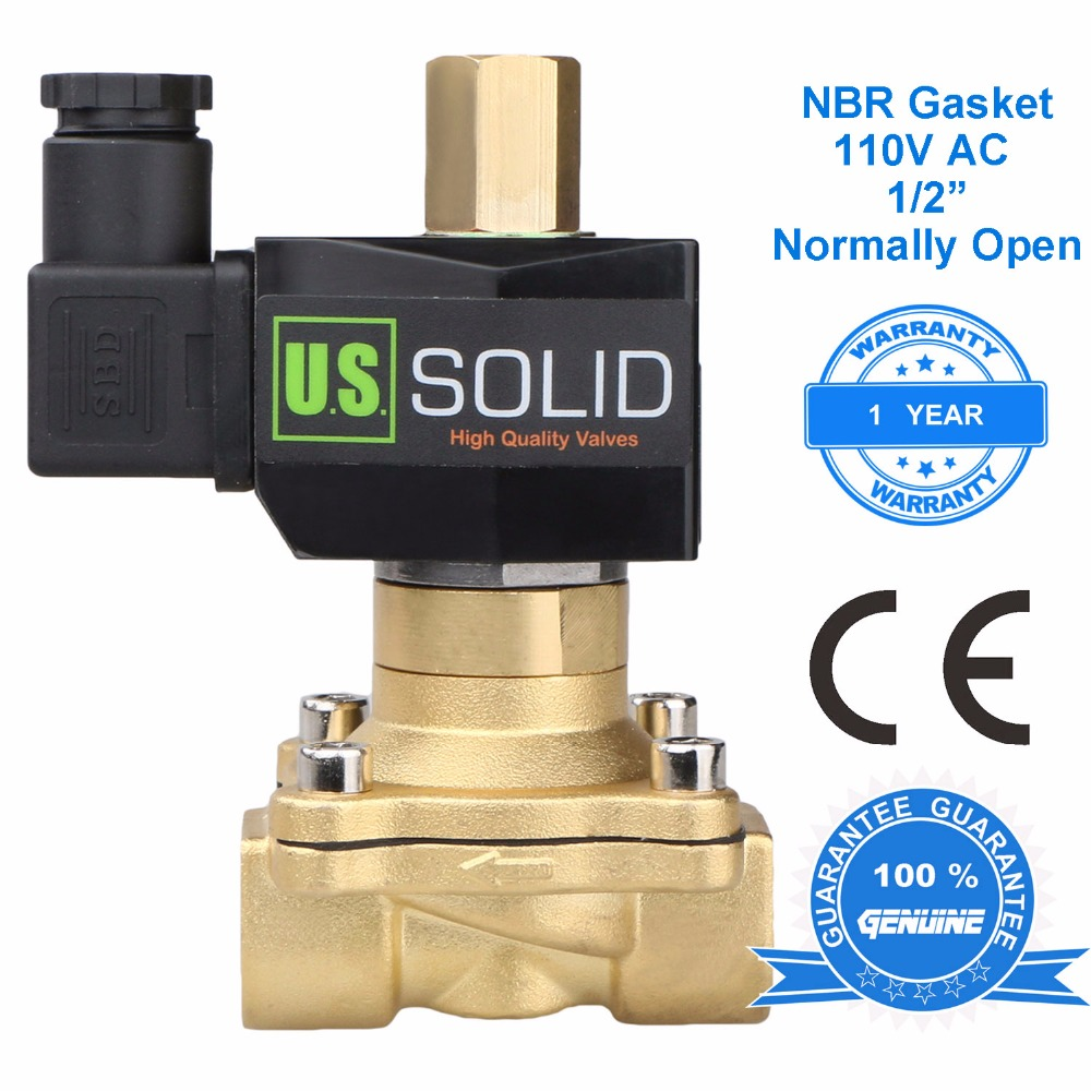 U.S. Solid 1/2 Brass Electric Solenoid Valve 110 V AC Normally Open Air Water, CE Certificated u s solid 1 brass electric solenoid valve 110 v ac g thread normally closed for air water diesel iso certificated