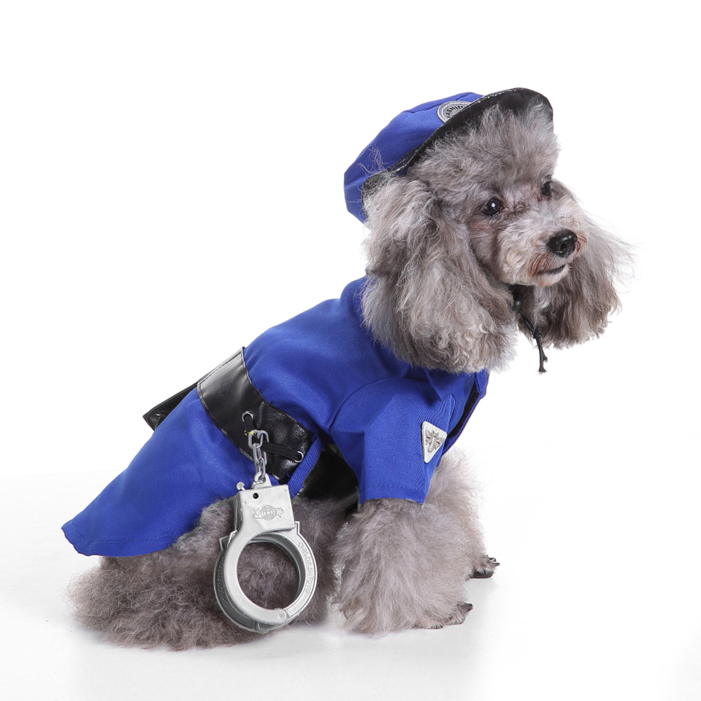 TINGHAO Cute Puppy Pet Mini Police Suit Costume Hat Handcuffs Hallowmas Xmas Dog Apparel