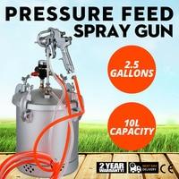 Tanque de pintura vevor  tinta de 2-1/2 galão e pressão de 30 psi  tanque de pressão  pintura de 10 pés de ar mangueiras fluidas