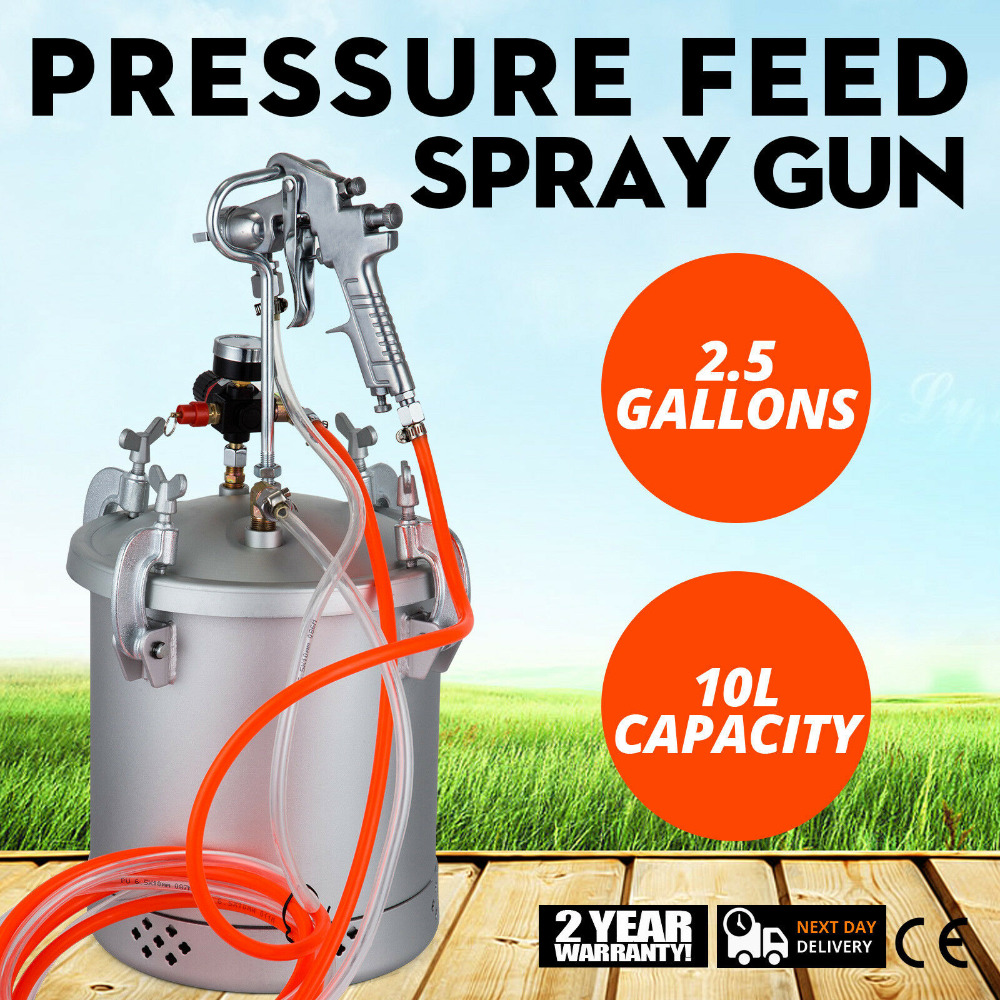 VEVOR Paint Tank 2-1/2 Gallon Pressure Pot Paint Max 30 PSI Pressure Tank Paint 10 Ft Air And Fluid Hoses